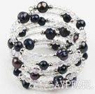 Black Freshwater Pearl and Clear Crystal Wrap Bangle Bracelet