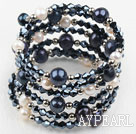 Wholesale Black and White Freshwater Pearl and Black Crystal Wrap Bangle Bracelet