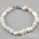 Wholesale Simple Design Cucurbit Shape White Freshwater Pearl Bracelet