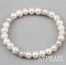 Classic Design Natural White and Purple Freshwater Pearl Elastic Bangle Bracelet with Rhinestone