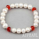 White Freshwater Pearl Elastic Bangle Bracelet with Red Crystal and Rhinestone