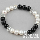 Wholesale White Freshwater Pearl and Clear Crystal and Black Agate Beaded Bangle Bracelet