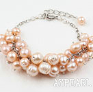 Wholesale Natural Pink Freshwater Pearl Bracelet with Metal Chain