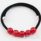 Enkelt Design Round Red Coral Bangle Bracelet