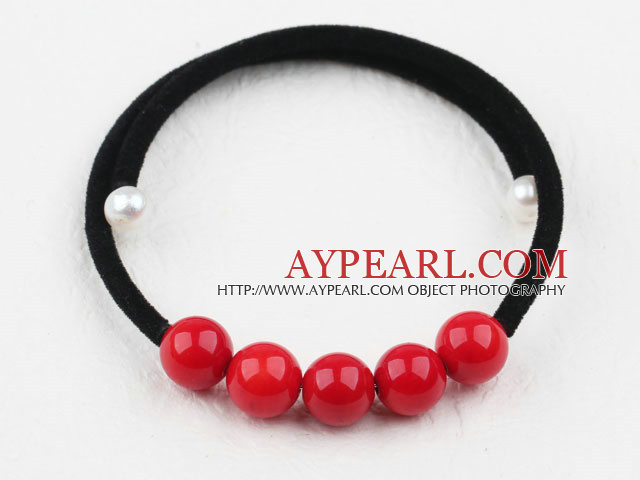 Simple Design Round Red Coral Bangle Bracelet
