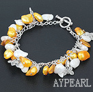 Wholesale gold and white pearl bracelet with toggle clasp