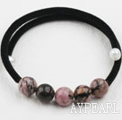Simple Design Round Rhodochrosite Bangle Bracelet