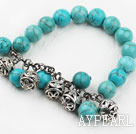 10mm Round Turquoise Elastic Beaded Bangle Bracelet with Metal Ball Accessories