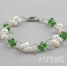 Wholesale Green Series Fashion Style White Freshwater Pearl and Green Crystal Bracelet