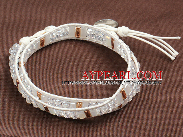 Fashion Style Clear Crystal Beads Wrap Bangle Bracelet