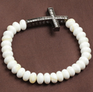 Classic Design White Sea Shell Beads Elastic/ Stretch Bracelet With Cross Charm