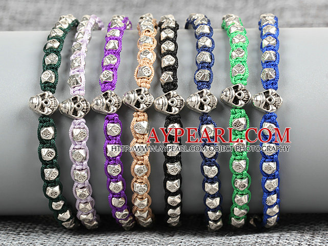 8 PCS Fashion Nickel Free Alloyed Skull Head Charm Multi Color Thread Hand-Knitted Bracelet (Random Color)