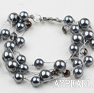 Multi Strands Round Black Gray Seashell Bracelet with Lobster Clasp