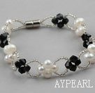 White Freshwater Pearl and Black Crystal Bracelet with Magnetic Clasp