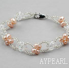 Pink Freshwater Pearl and Clear Crystal Bracelet with Lobster Clasp