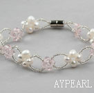 Wholesale White Freshwater Pearl and Pink Crystal Bracelet with Magnetic Clasp