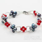Black Freshwater Pearl and Red Crystal Bracelet