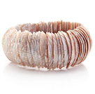 Brown and Pink Color Trochus Shell Stretch Bangle Bracelet