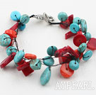 Wholesale Assorted Red Coral and Turquoise Bracelet