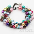 Assorted Multi Color Shell Beads Bracelet with Lobster Clasp
