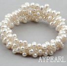 Wholesale White Freshwater Pearl Wrap Bangle Bracelet