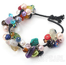 seven colored stone and pearl crystal bracelet with black cord