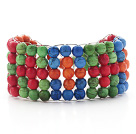 Assorted Colorful Dyed Turquoise Crocheted Wire Bracelet with Lobster Clasp
