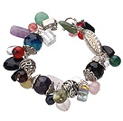 Vintage Style Multi Color Multi Stone And Crystal Tibet Silver Accessory Bracelet With Toggle Clasp