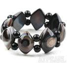 Wholesale Eye Shape Black Agate Elastic Bangle Bracelet