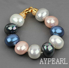 Wholesale high quality egg shape multi color sea shell beads bracelet with gold plated clasp