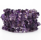 Long Style Amethyst Chips Wrap Bangle Bracelet