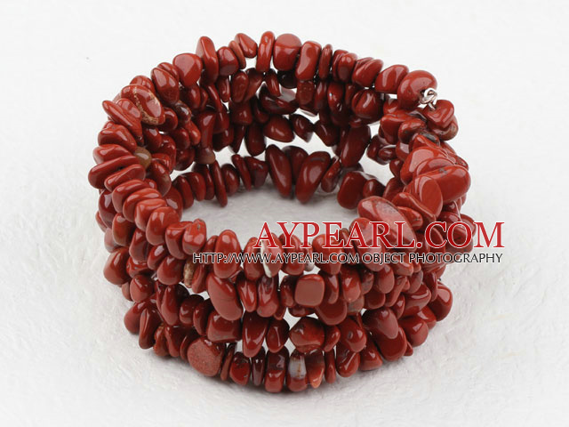 Longue Rouge Style Jasper Bracelet Chips Wrap