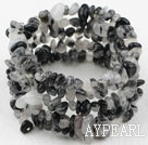 Long Style Black Rutilated Quartz Chips Wrap Bangle Bracelet