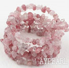 Long Style Strawberry Quartz Chips Wrap Bangle Bracelet