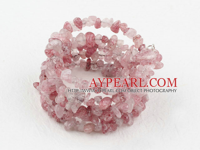 Lång Style Strawberry Quartz Chips Wrap Bangle Armband