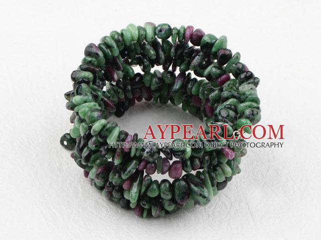 Long Style Zoisite Chips Wrap Bangle Bracelet