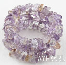Long Style Purple and Yellow Quartz Chips Wrap Bangle Bracelet
