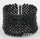 Big and Wide Style Black Crystal Woven Bangle Bracelet
