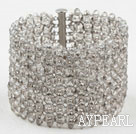 Big and Wide Style Gray Crystal Woven Bangle Bracelet