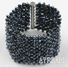 Wholesale Big and Wide Style Tungsten Black Crystal Woven Bangle Bracelet