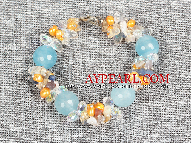 Hot Sale Gorgeous Round Cyanite Beads Cluster Yellow Pearl Clear Crystal Bracelet