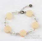 Wholesale white manmade  pearl and yellow jade flower bracelet with extendable chain