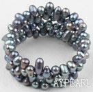 Wholesale Black Freshwater Pearl Wrap Bangle Bracelet