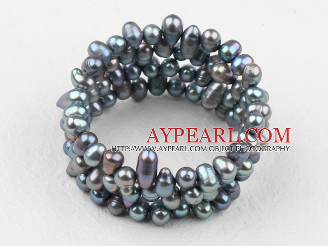 Black Freshwater Pearl Wrap Bangle Bracelet