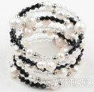 Wholesale White Freshwater Pearl and Black Crystal Wrap Bangle