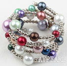 Assorted Multi Color Acrylic Pearl Wrap Bangle Bracelet