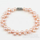 Wholesale 6-7mm Natural Pink Freshwater Mabe Pearl Bridal Bracelet with Magnetic Clasp