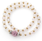 Double Rows Clear Round Rose Quartz and Golden Color Beads Stretch Bangle Bracelet with Pink Rhinestone Ball