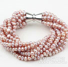 Wholesale Multi Strands 3-4mm Natural Purple Freshwater Pearl Bracelet with Big Magnetic Clasp