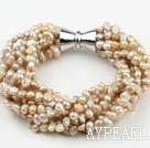 Wholesale Multi Strands 3-4mm Champagne Freshwater Pearl Bracelet with Big Magnetic Clasp